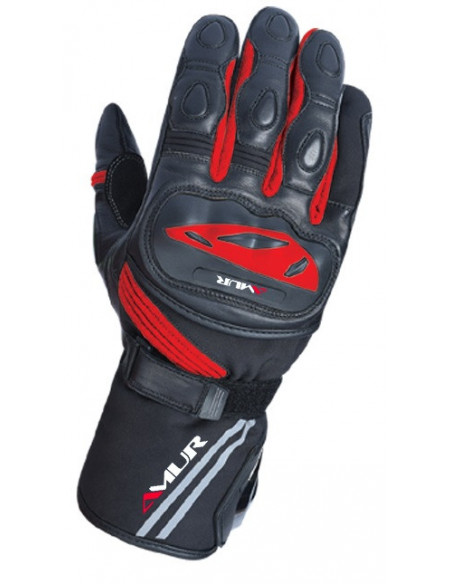 AMUR Black Red Long Leather Motorcycle Gloves